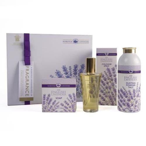 FRAGRANCE GIFT BOX Cologne Spray Talc Soap ENGLISH Norfolk Lavender