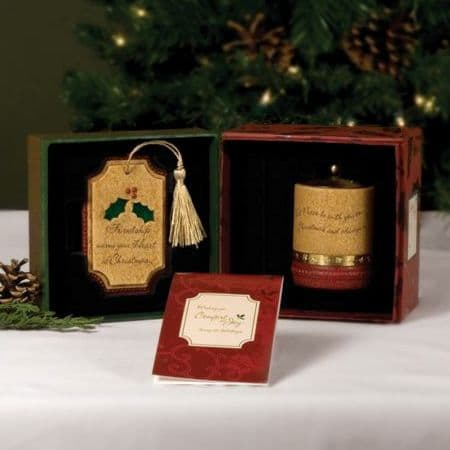 FRIENDSHIP Christmas Comfort Candles Gift Set - Friend Xmas Tree Decoration & Tealight Candle Holder