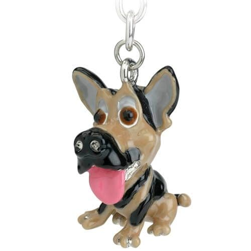 GERMAN SHEPHERD Dog Charm Keyring & Shopping Trolley Coin by Little Paws