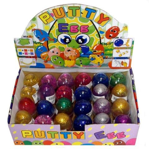 GLITTER Gel Bouncing Putty EGG - Bounces & Stretchy Mixed Colours