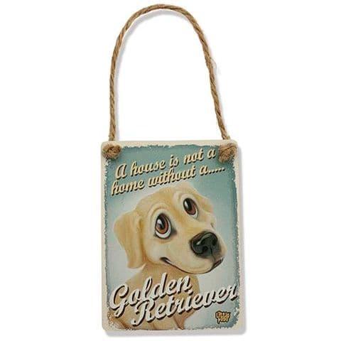 GOLDEN RETRIEVER - Fun Dog Breed Metal Dangler Sign by Little Paws