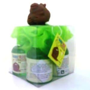 GORILLA Green Scrunchie & MELON Scented Shower Gels Bath Time Buddies Gift Set