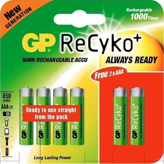 GP AA Recyko Rechargeable Ni-MH Batteries 2100 mAh Card of 4