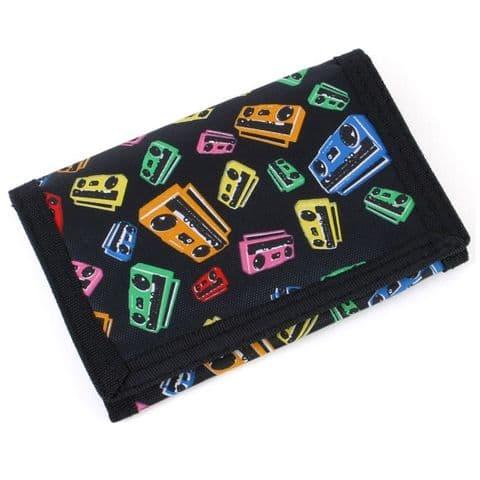 Ghetto Blaster Design - Tri Fold Wallet With Velcro & Zipped Coin Pocket