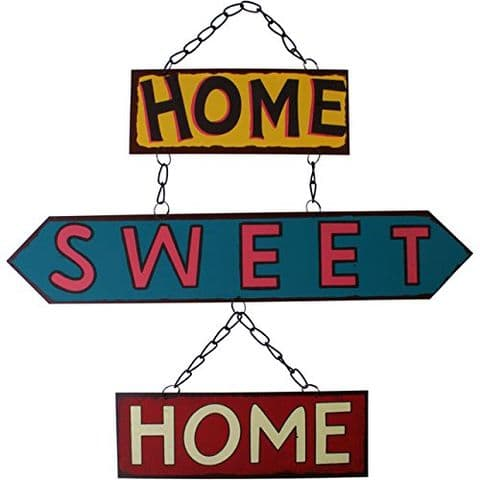 Home Sweet Home - Sentimental Signs - Hanging Metal Wall Word Art Plaques