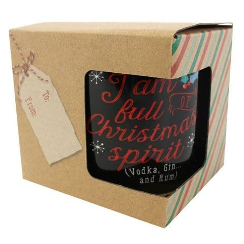 I Am Full Of Christmas Spirit (Vodka, Gin & Rum) - Black Gift Boxed Mug