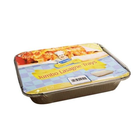 Jumbo Lasagne Foil Trays & Lids - Kingfisher Catering Love To Cook (Pack of 3)