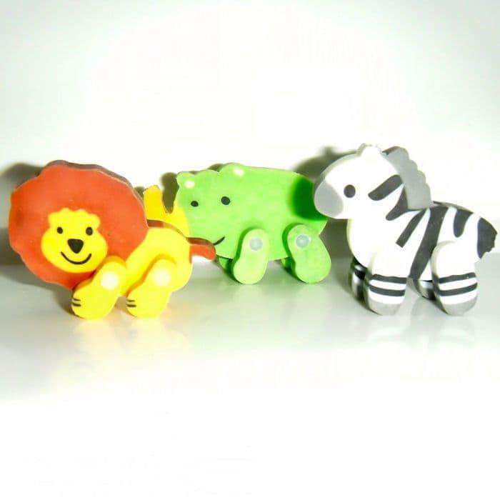 Jungle Erasers - Lion, Zebra & Rhino Chunky Novelty Rubbers - Set of 3