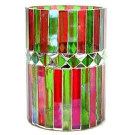 Large RED or GREEN Rustic Mosaic GLASS Votives / Pillar Holder - Shearer Candles