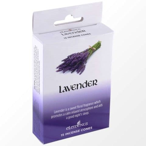 Lavender Scented Incense Cones Elements Indian - Box Of 15