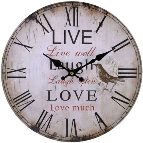 Live Love Laugh 31723 - Large Rustic Retro Kitchen Wall Clock 34cm