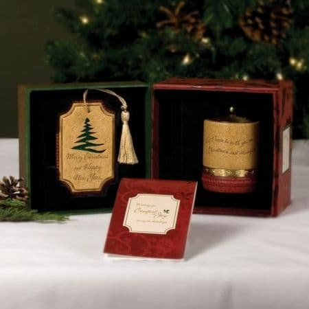 MERRY CHRISTMAS Comfort Candles Gift Set - Xmas Tree Decoration & Tealight Candle Holder