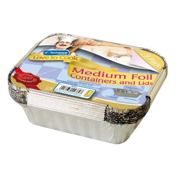 Medium Foil Trays & Lids - Kingfisher Catering Love To Cook (Pack of 9)