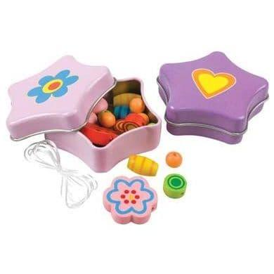 Mini STAR Tin of Wooden Rainbow Beads - Beading Crafts Kit