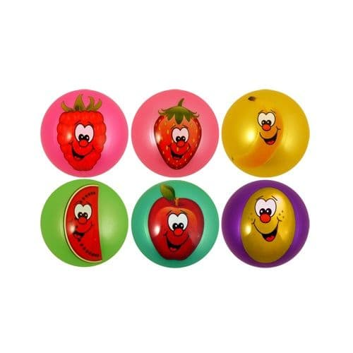 Mini Smelly Fruits Smiley Face Play Ball 9cm Assorted Colours - 1 Supplied