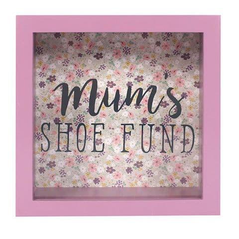 Mum's Shoe Fund 51926 - Savings Shadow Frame Glass Front Money Box