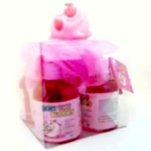 PIG Pink Scrunchie & CHERRY Scented Shower Gels Bath Time Buddies Gift Set