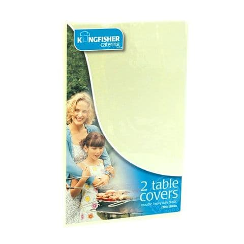 Pack of 2 Plastic Table Covers by Kingfisher Catering (120cm x 120cm)