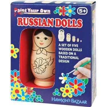 Paint Your Own - Set 5 Traditional Wooden RUSSIAN DOLLS Babushka - Arts & Crafts Kit