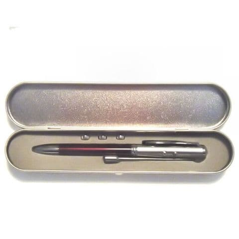 Pen LED Executive Torch in Case - With Red Laser Pointer & Stylus Nib