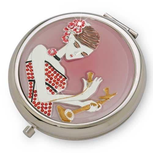 Pink Candlestick Call SILVER - Pretty Crystal Mirror Compact - Yvette Jordan by VANITY FAIR