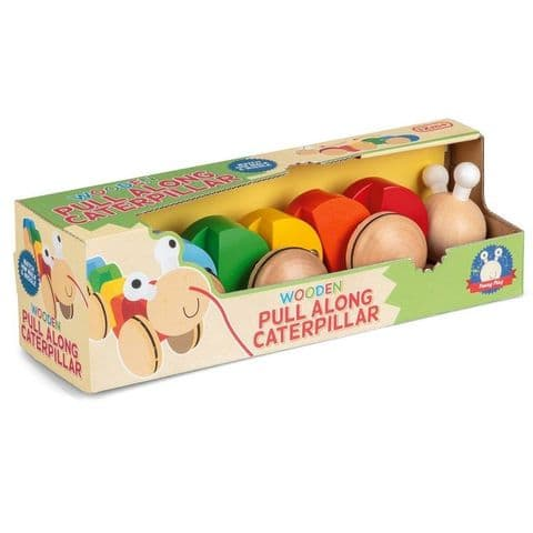 Pull Along Caterpillar - Wooden Traditional Toy (Age 12 Months Plus)
