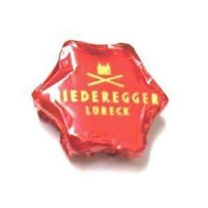 Red Foiled Christmas Star Dark Chocolate Marzipan NIEDEREGGER 12.5g