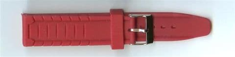Red Rubber Watch Strap 20mm (Silver Buckle)
