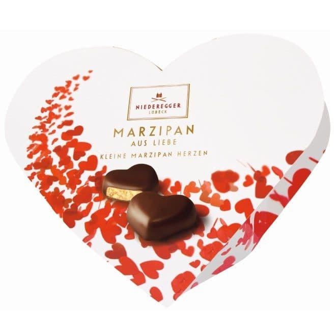 Red Valentine Hearts Dark Chocolate Marzipan 100g Niederegger (12 Pieces Per Box)