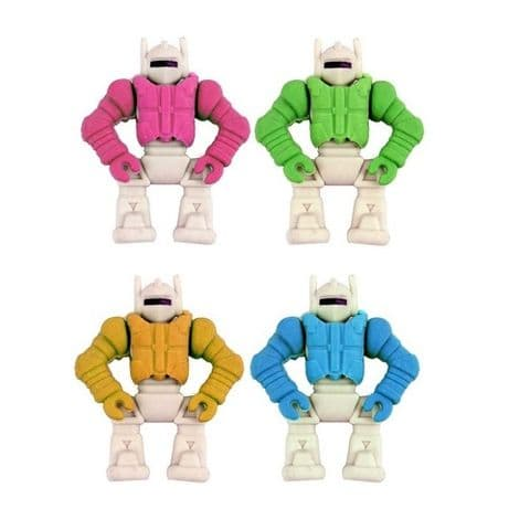 Robot - Novelty 3D Erasers Rubbers PINK BLUE GREEN or ORANGE