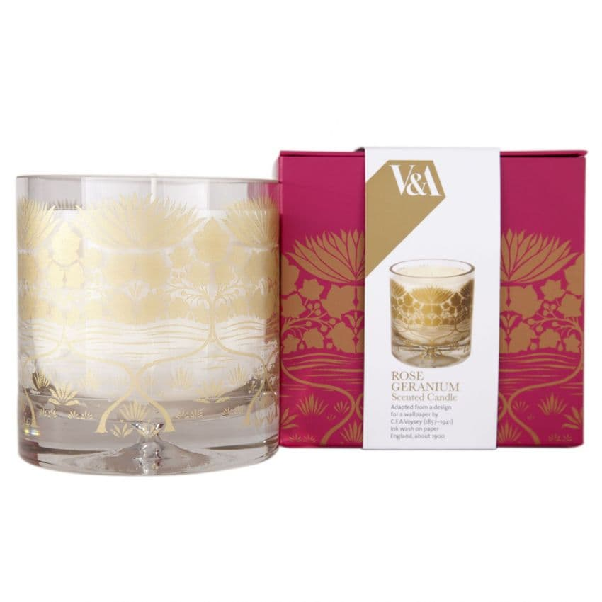 Rose Geranium (Floral Lemon Sage) V&A Collection Shearer Candles -  Luxury Glass Candle Gift Boxed