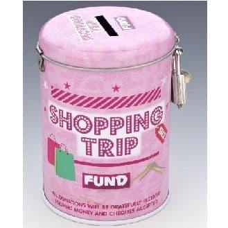 SHOPPING TRIP FUND - Money Savings Tin & Padlock