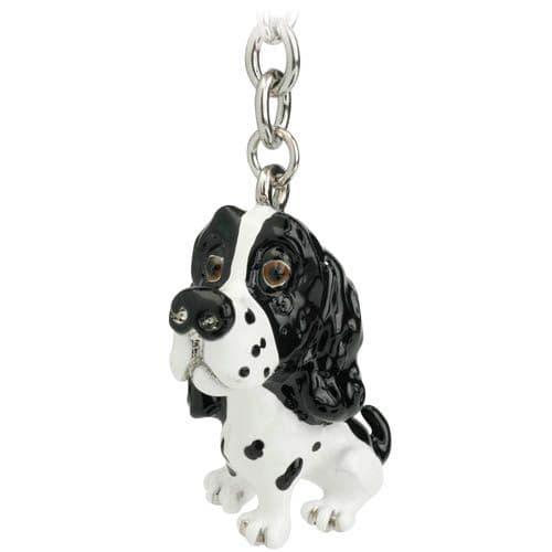 SPRINGER SPANIEL Black & White Dog Charm Keyring & Shopping Trolley Coin by Little Paws