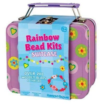 SUITCASE Tin of Wooden Rainbow Beads - Beading Crafts Kit