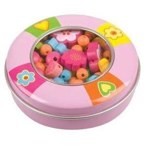 Small ROUND Tin of Wooden Rainbow Beads - Beading Crafts Kit