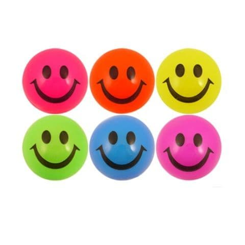 Smiling Light-Up LED Bouncy Balls Neon Orange, Yellow, Pink, Purple, Blue or Green
