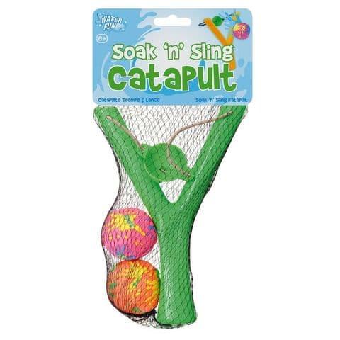 Soak N Sling Catapult & Balls - Garden Fun Water Fight Toys (1 Supplied)