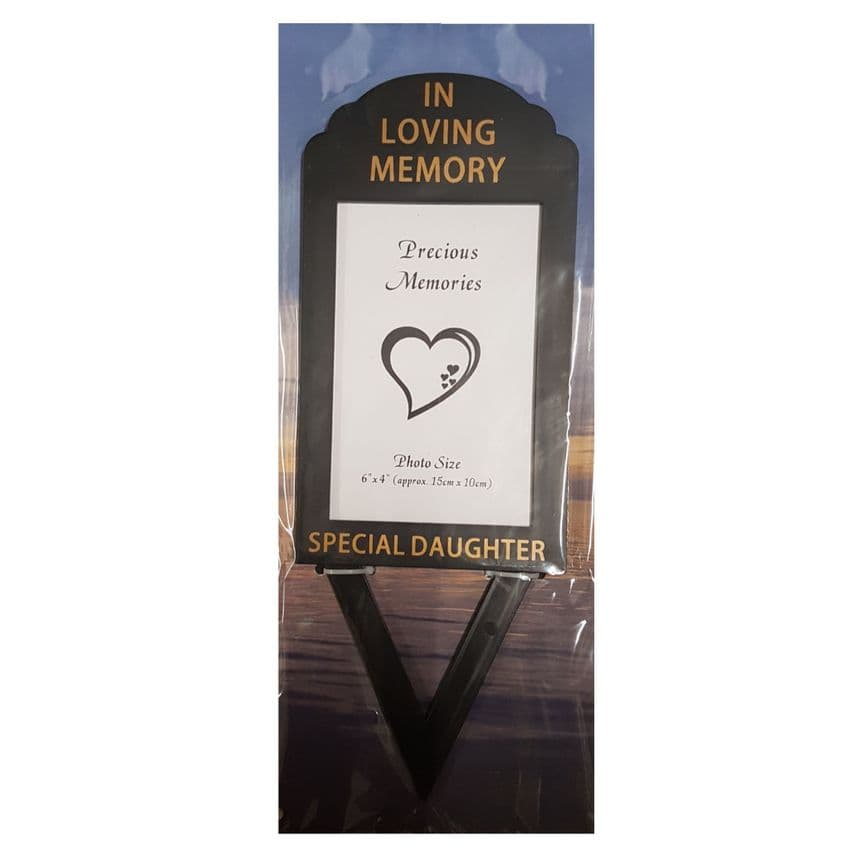 Special Daughter In Loving Memory - Photo Frame Holder Memorial Grave Spike By David Fischhoff