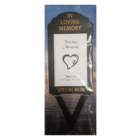 Special Mum In Loving Memory - Photo Frame Holder Memorial Grave Spike By David Fischhoff