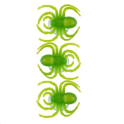 Spiders Window Suckers - Spooky Green Halloween Fun - Pack of 3