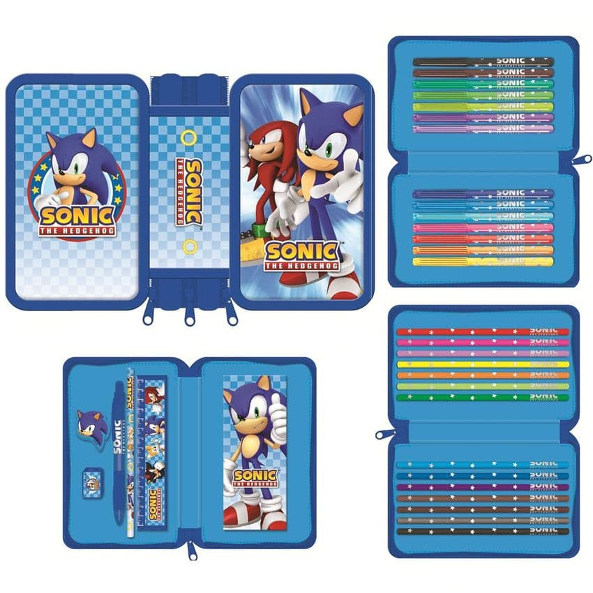 Triple Tier Filled Pencil Case SONIC THE HEDGEHOG Stationery (Blueprint)