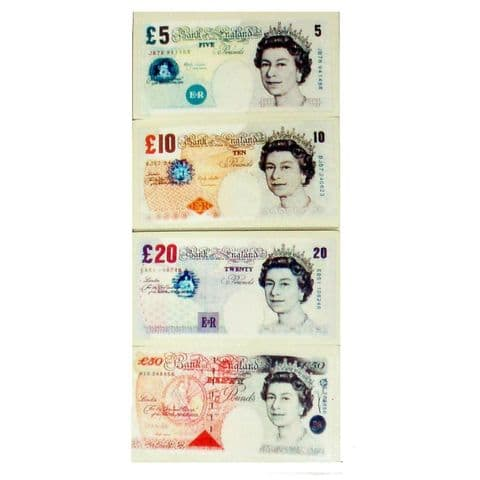 UK POUND Note Money Novelty Erasers - Realistic 5 10 20 & 50 Notes - Set of 4
