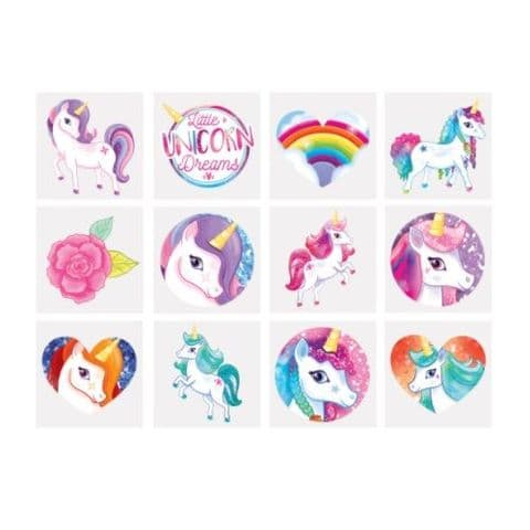 Unicorns  - Pack of 12 Mini Tattoos