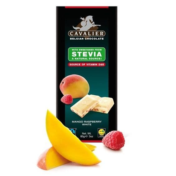 White Mango & Raspberry STEVIA No Sugar Added Free CAVALIER Belgian Chocolates Bar 85g