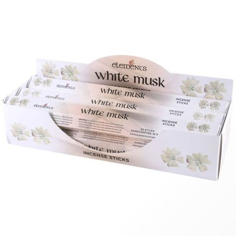 White Musk Scented Incense Sticks Elements Indian - Tube Of 20