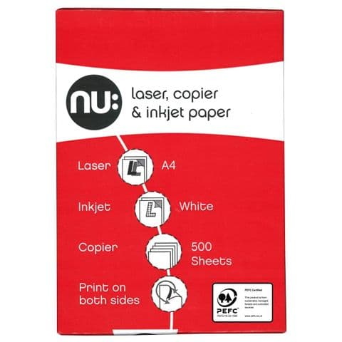 A4 Laser, Copier & Inkjet White Printer Paper Nu 500 Sheets (1 Ream)