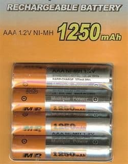 AAA Rechargeable Ni-MH 1.2v Batteries 1250 mAh (4 Pack)