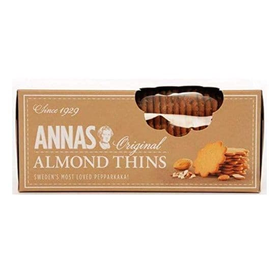 Almond Thins Original Swedish Pepparkaka Biscuits Annas 150g