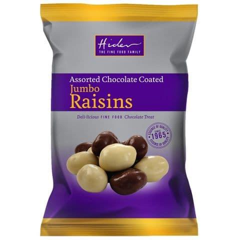 Assorted Milk White Chocolate Coated Jumbo Raisins Hider Foods 135g