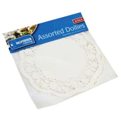 Assorted Sizes Paper Doilies Kingfisher Catering (36 Pack)